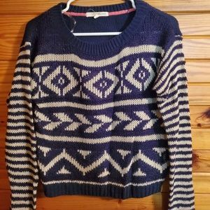 women med sweater blue/beige